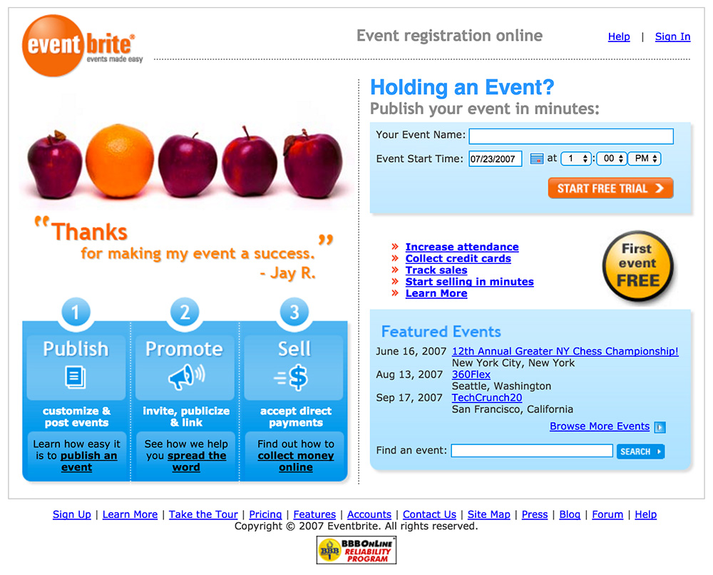 homepage eventbrite 2006