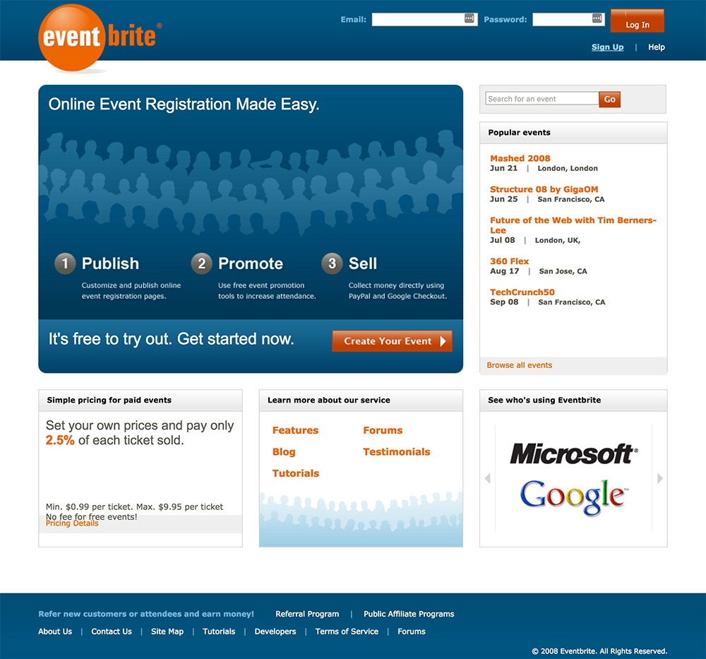 homepage eventbrite 2008