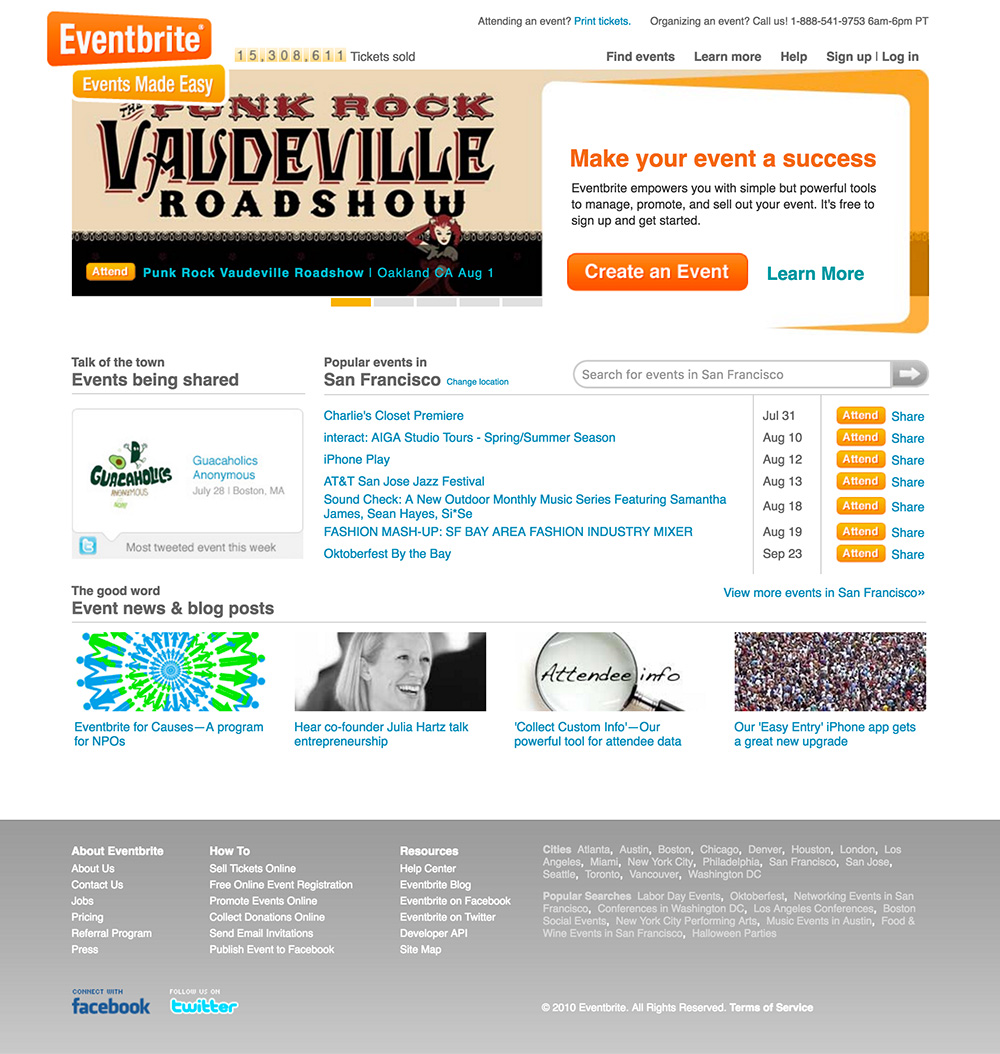 homepage eventbrite 2010