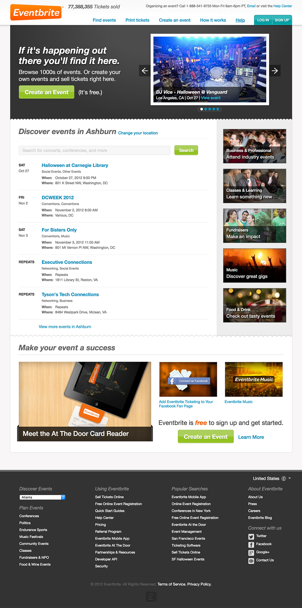 homepage eventbrite 2012