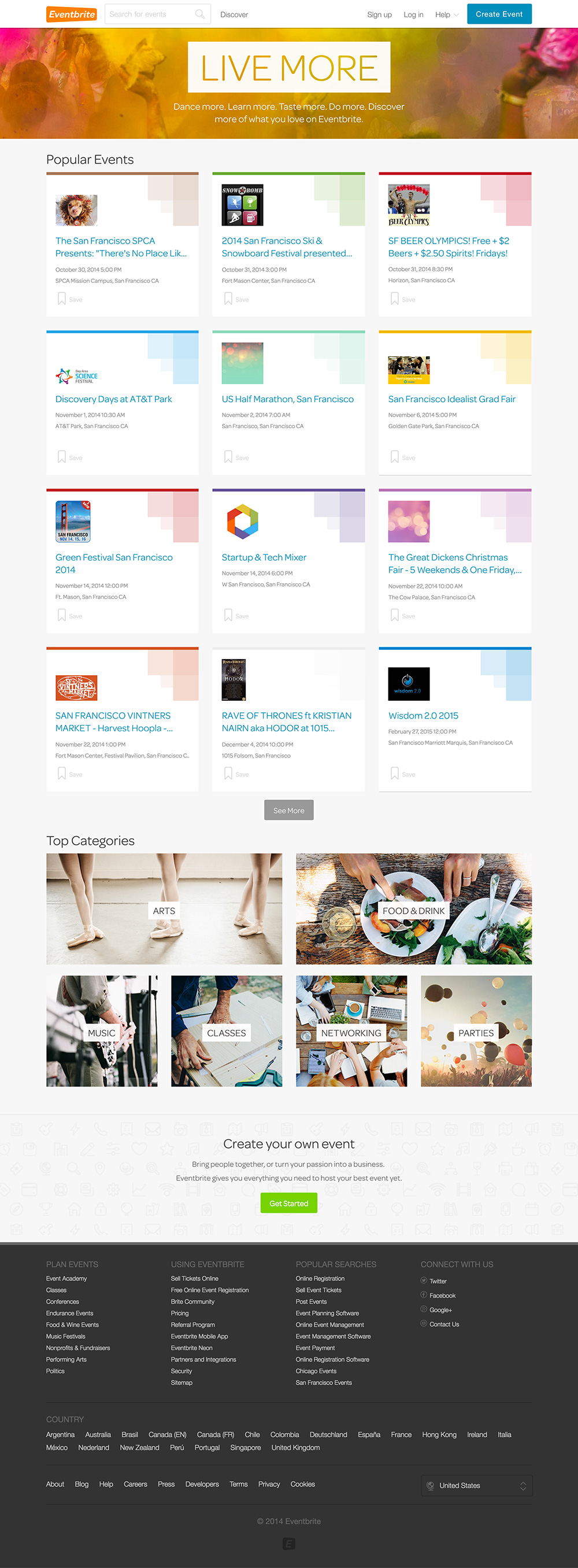 homepage eventbrite 2014