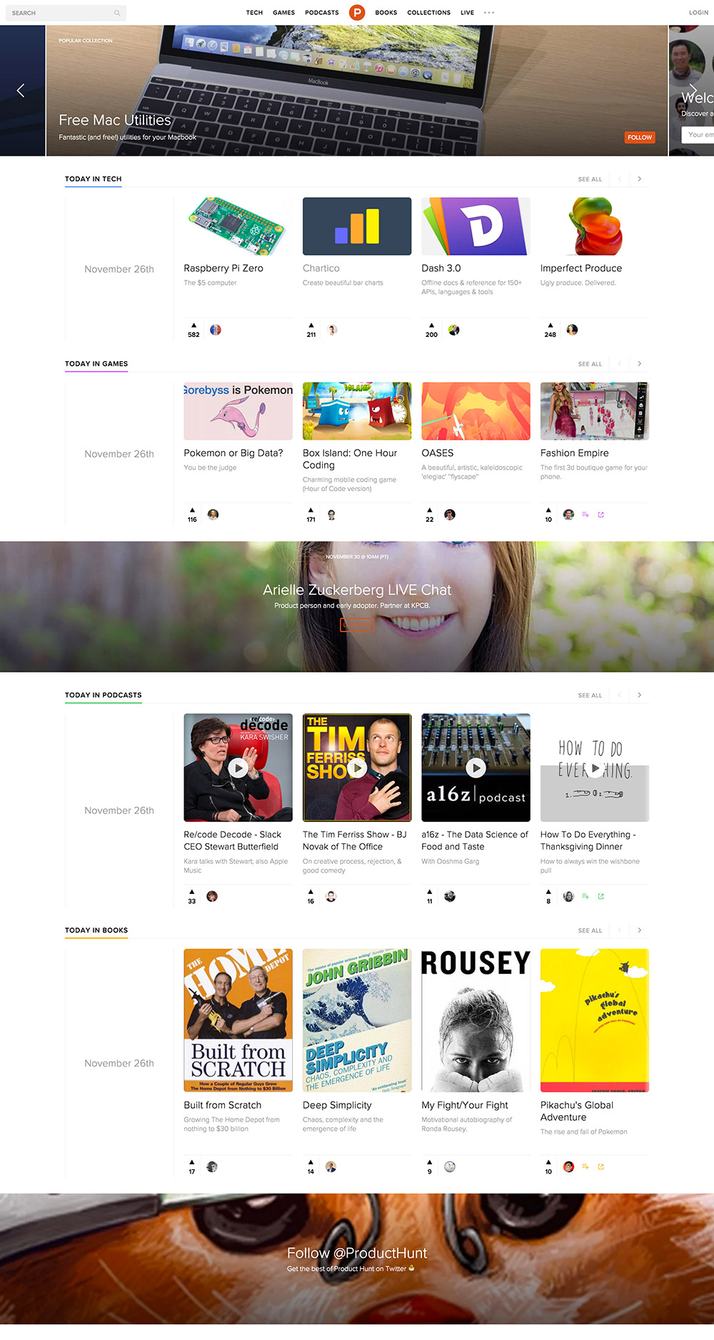 homepage producthunt 2015